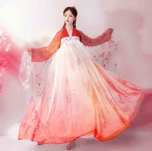 Deluxe Fantasia Female Carnival Cosplay Costume Chinese Ancient Traditional Hanfu Outfit Fancy Dress Orange For Lady Plus Size(China)