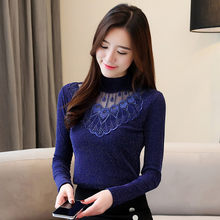 Plus Size 4XL Ladies Turtleneck Tops Women Long Sleeve Lace Blouse Korean Fashion Autumn Blouses Office Work Winter Basic Shirts(China)