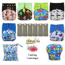 OhBabyKa детская Пеленка из моющейся ткани бамбуковый уголь Многоразовые Все-в-два карман подгузник Регулируемый+ 6 шт бамбуковые вставки детские подгузники