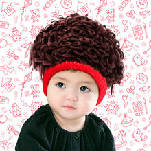 Baby Boy Autumn And Winter Knitted Hat Halloween Funny Cap Hand Made Fashion Wig Wool Hedging Trendy Boy Funny Cool Cosmetic Hat(China)