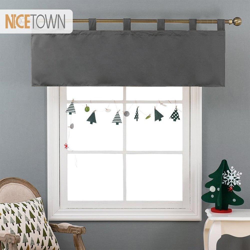€10.82 43% de réduction|NICETOWN 1PC cantonnière rideau moderne décoration  de la maison solide occultant onglet haut drapé niveau pour cuisine salle  ...