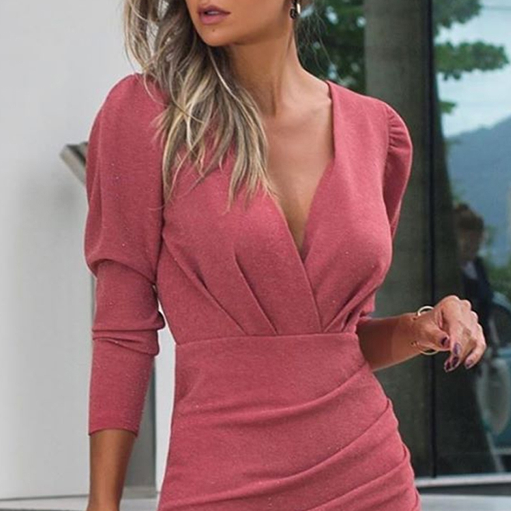 Women Dress Autumn Sexy Elegant Ladies Red Long Sleeve Ruched Slim Fitted Party Dresses For Women 2020 Fall Fashion Clothes 3