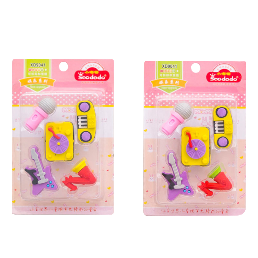 12set/lot Cute Colorful For Kids Creative Kawaii Stationery Party Music Instruments Series Rubber Five Pcs Eraser One Set