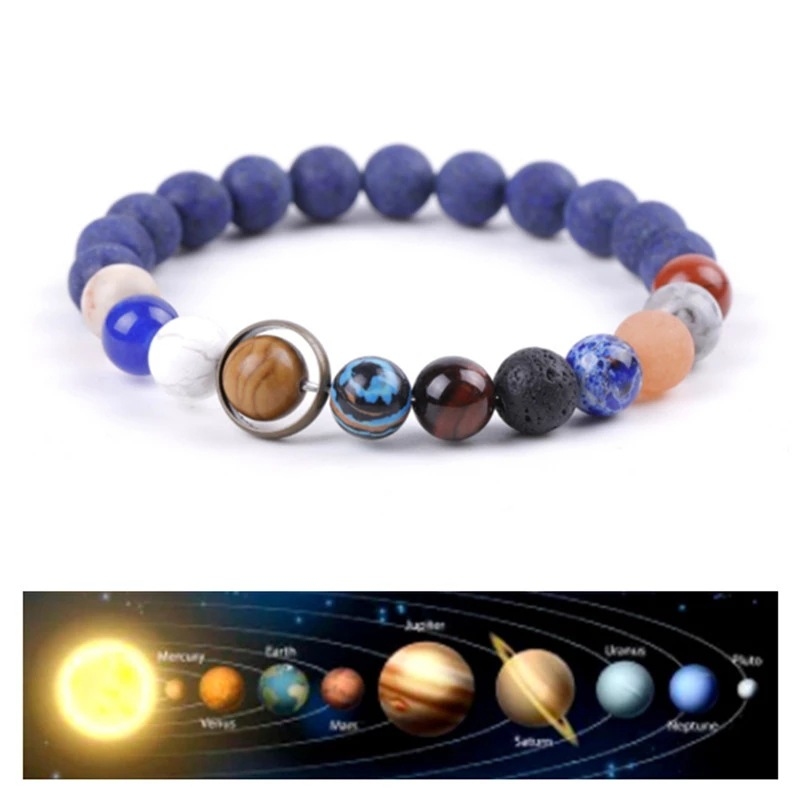 Couple Eight Planets Natural Stone Bracelet Universe Color chakra Galaxy Solar System Beads Bracelet for Men and Women