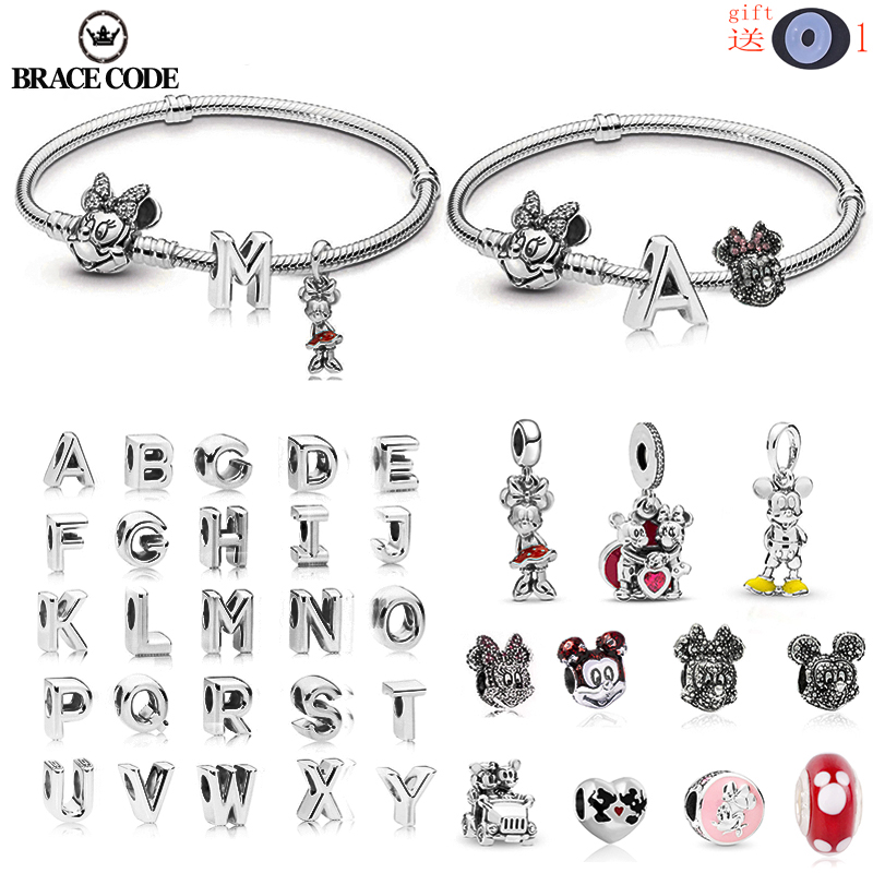 High quality Minnie snake bone chain DIY English alphabet A-Z crystal charm beads suitable for original Pandora bracelet jewelry(China)