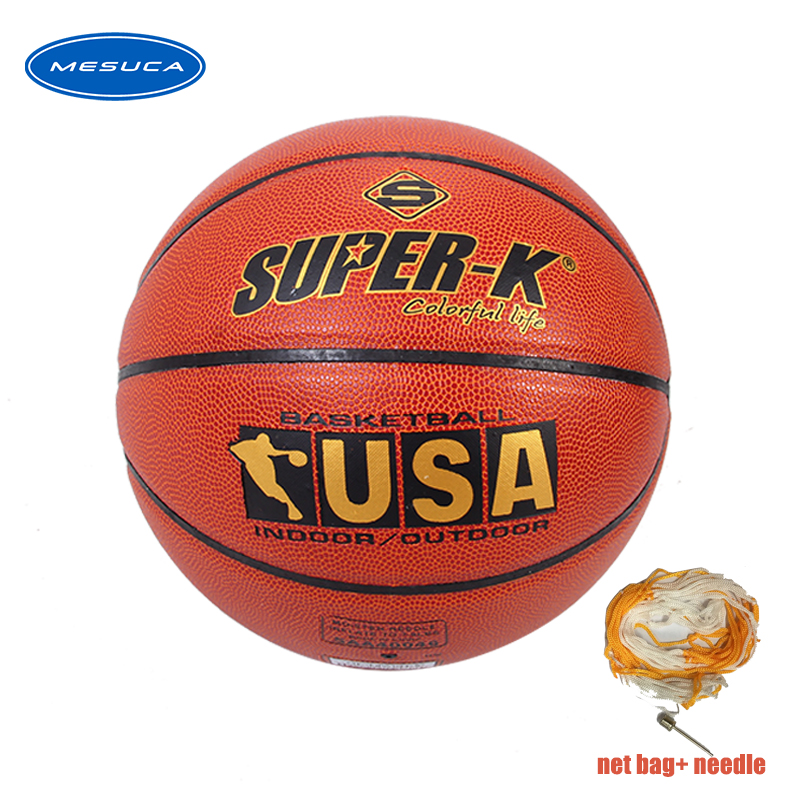 New High Quality Basketball Ball Official Size 7 PU Leather Outdoor Indoor Match Training Inflatable Basketball +net Bag Needle