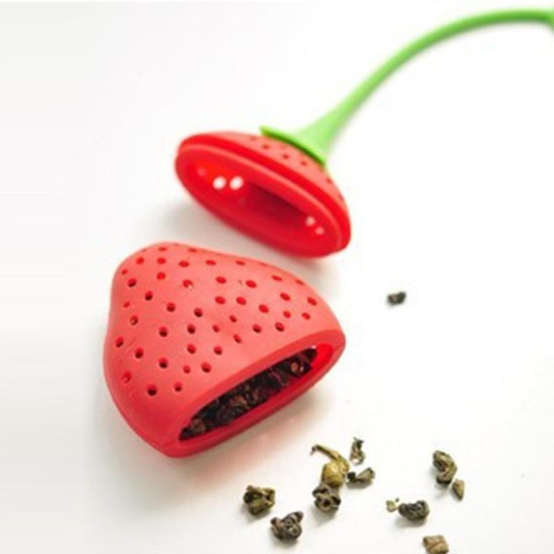 Tea Leaf Strainer Silicone Strawberry Loose Herbal Spice Infuser Filter Diffuser Tea Leaf Strainer Kitchen Lunchtea Supply