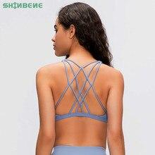 SHINBENE soutien gorge de Yoga Sexy, à bretelles croisées, vêtement de haut court, sans fil, rembourré, pour gymnastique, Fitness, pour femmes, XS XL