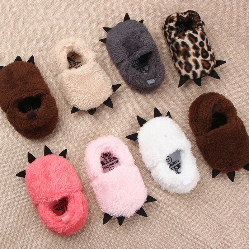 Goocheer Cute Modeling Monster Paw Infrant Toddlers Baby Warm Slippers Winter Plush Thick Newborn Baby Shoes First Walkers Flock