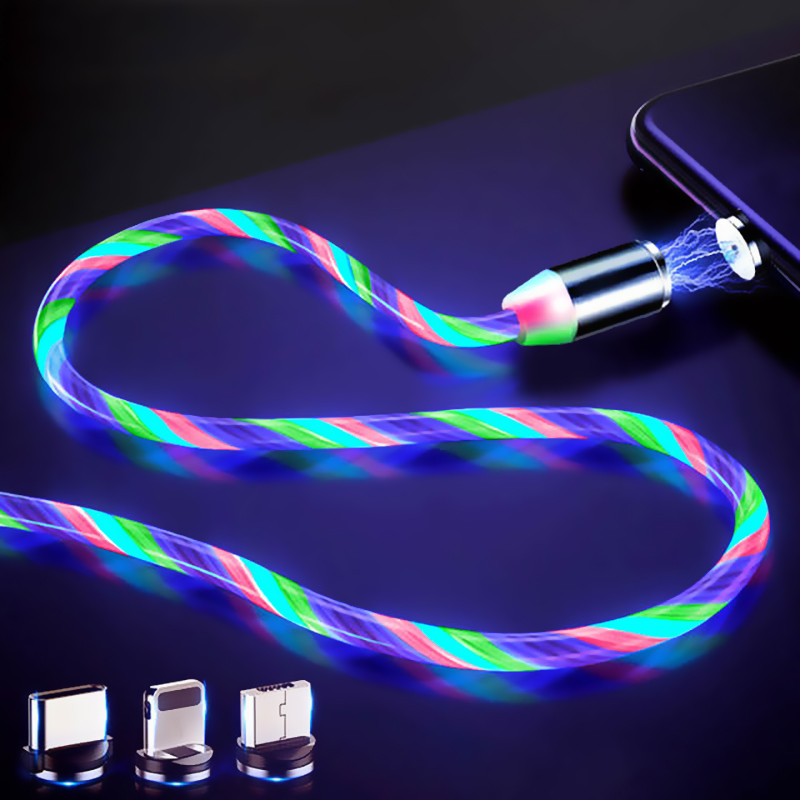 LED Glow Flowing Magnetic Charger <font><b>Cable</b></font> Luminous Lighting Fast Charging Micro USB Type C For iPhone Android Phone USBC Wire Cord image