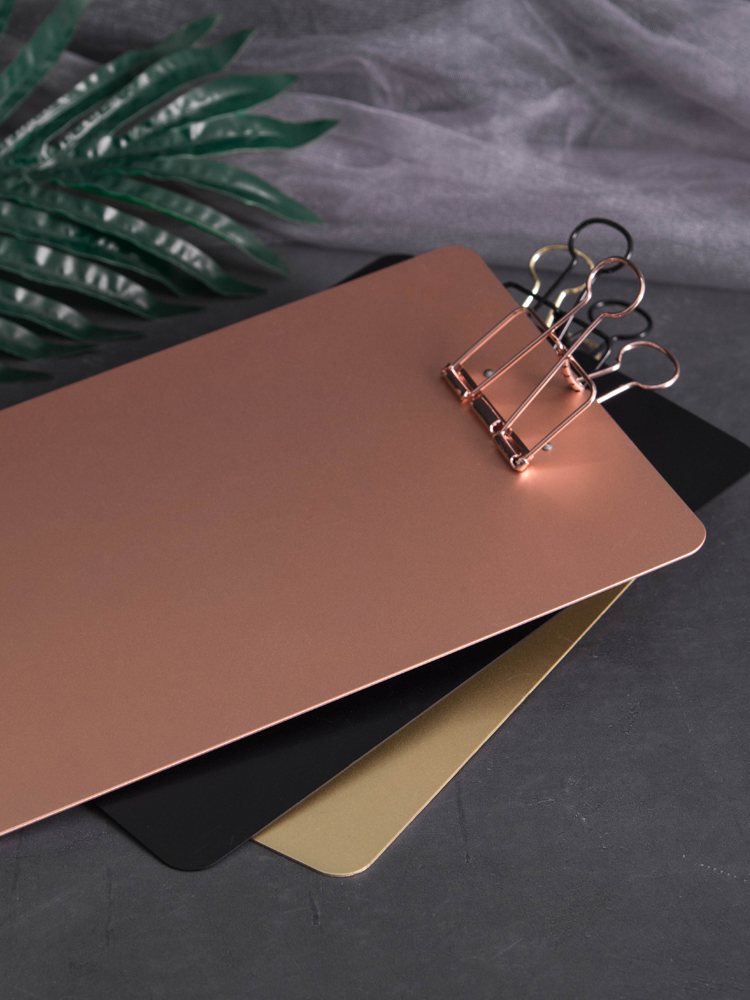 1pc Rose Gold/gold/black Luxury Clip File Metal Board Metal Clip Document Folder Drop Shipping