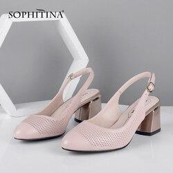 SOPHITINA, zapatos de verano para mujer, Nuevos zapatos de salón, puntiagudos, tacón cuadrado, correa de Espalda alta, zapatos de moda para mujer, zapatos informales de piel de oveja SC632