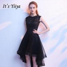 Платья невесты черный это Yiiya R208 элегантный o-образным вырезом высокая низкая длина платья без рукавов свадебное гость платья Vestidos