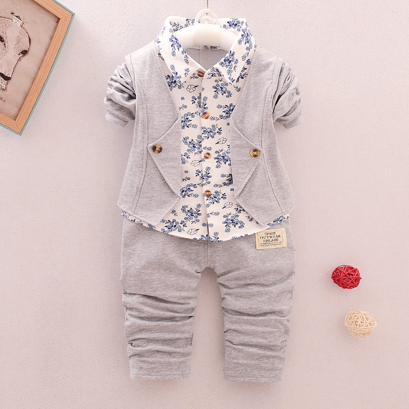 spring autumn new arrive boys clothes 2pcs floral shirt + pants handsome gentleman suit hot sales boys clothing sets
