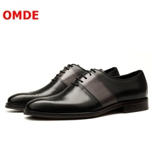 OMDE New Fashion Handmade Genuine Leather Shoes Men Brogue Formal Shoes Lace-up Patchwork Mens Dress Shoes Oxfords Wedding Shoes christia bella fashion handmade formal mens dress shoes genuine leather spikes studded zebra men s evening wedding party shoes