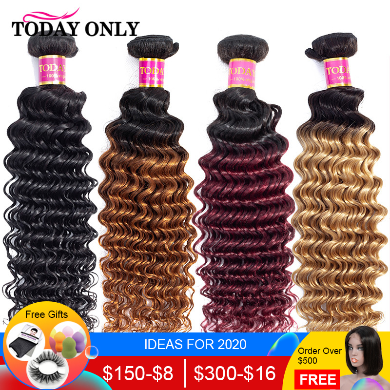 TODAY ONLY 1/3/4 Bundles Brazilian Hair Weave Bundles Burgundy Blonde Deep Wave Bundles Ombre Human Hair Bundles 1b/30 Remy Hair