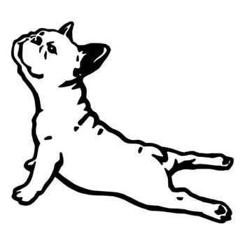 Car Sticker Bulldog French Animal Pet Dog Cartoon Model Creative Waterproof Sunscreen Black/White,16cm*15cm