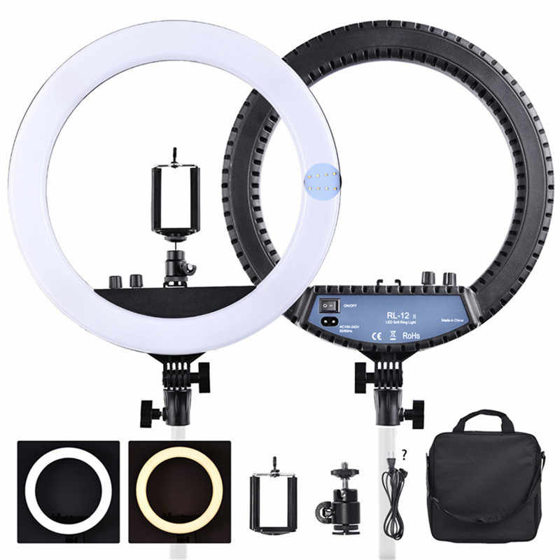 "fosoto RL-12II 14"" Dimmable Photography light Led Ring Light Bi-color 3200-5600K 240 led Ring Lamp For Camera Photo Studio Phone"