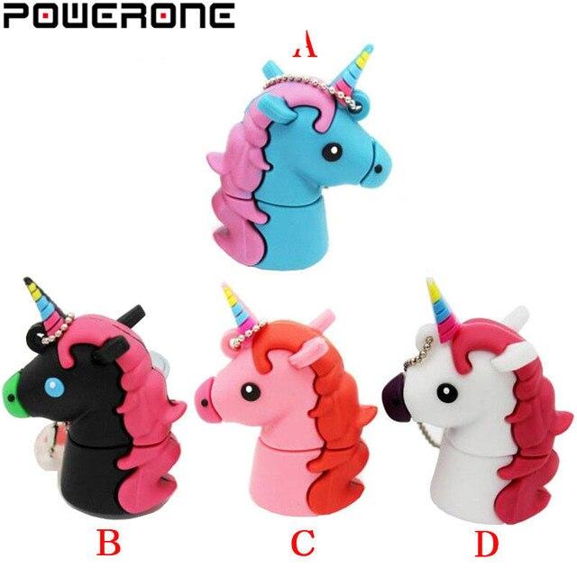 POWERONE, новый стиль, мультяшный единорог, флеш накопитель, 64 ГБ, 32 ГБ, usb флеш накопитель, милая лошадь, флешка, реальная емкость, 4 ГБ, 16 ГБ, карта памяти