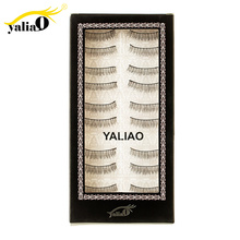 YALIAO 10 Pairs False Eyelashes Natural Long Thin Eyelash Maquiagem Cilios Makeup Lashes 100% Handmade Extension