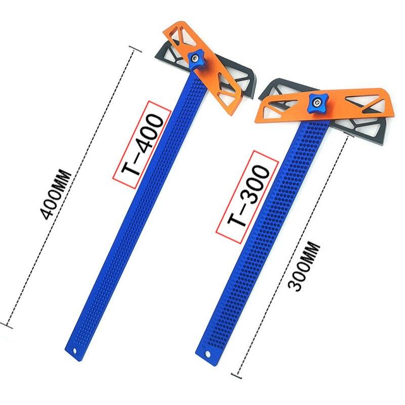 T300/T400 Carpenter Tools T Type Square Ruler Woodworking Aluminum Alloy Scriber Measuring Carpentry Marking Tool Gauge Gauging