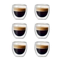 6 ensembles de tasses à café en verre creux Double couche 80Ml pour boire du thé, du café, des tasses à boire