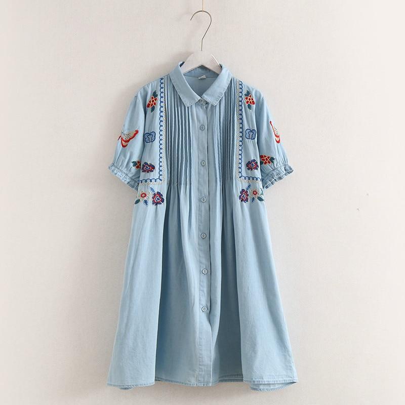 KYQIAO Denim dress 2020 mori girls autumn bohemian short sleeve turndown collar blue white cartoon embroidery vestidos gown