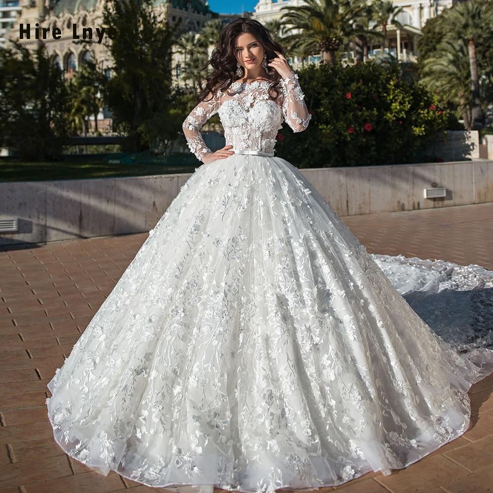 2020 Gorgeous Ball Gown Wedding Dresses With 2.5m Train Vestido De Noiva Princesa Pearls Lace Flowers Long Sleeve Princess Gowns