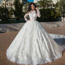 2020 Gorgeous Ball Gown Wedding Dresses With 2.5m Train Vestido De Noiva Princesa Pearls Lace Flowers Long Sleeve Princess Gowns