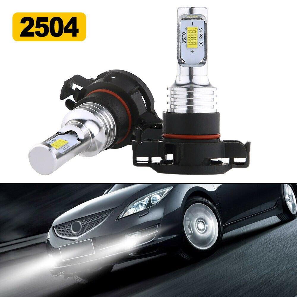 2 unids/set 2504 PS X 24W llevó la luz de niebla bombillas lámpara 35W 4000LM 6000K blanco