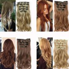 MERISI HAIR 22 Synthetic Deep Wave Hair Heat Resistant Light Brown Gray Blond Women Hair Extension Set Clip In Ombre Hair