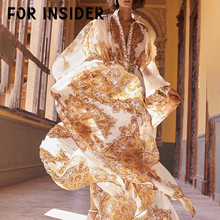 For Insider Floral print maxi women dress Long sleeve vintage autumn ladies dresses sexy Elegant gold party robe femme