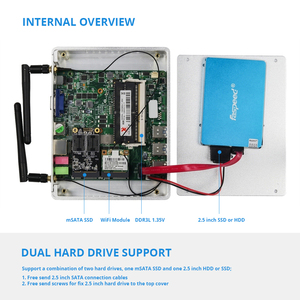 Image 5 - Mini PC Intel Pentium 4405U Windows 10 Linux DDR3L RAM mSATA SSD HDMI VGA 6 * USB 300Mbps WiFi LAN Gigabit sin ventilador HTPC Office PC