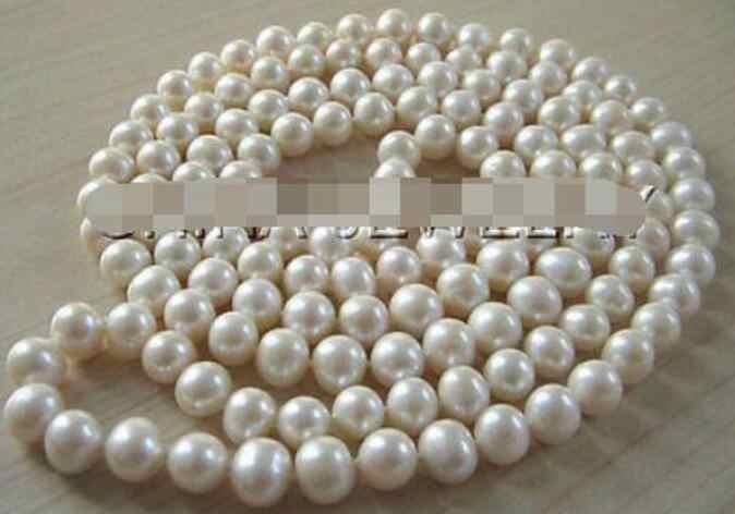 """Collier de perles de bijoux 50 """"de Long 9-10mm collier de perles d'eau douce rondes blanches naturelles livraison gratuite"""