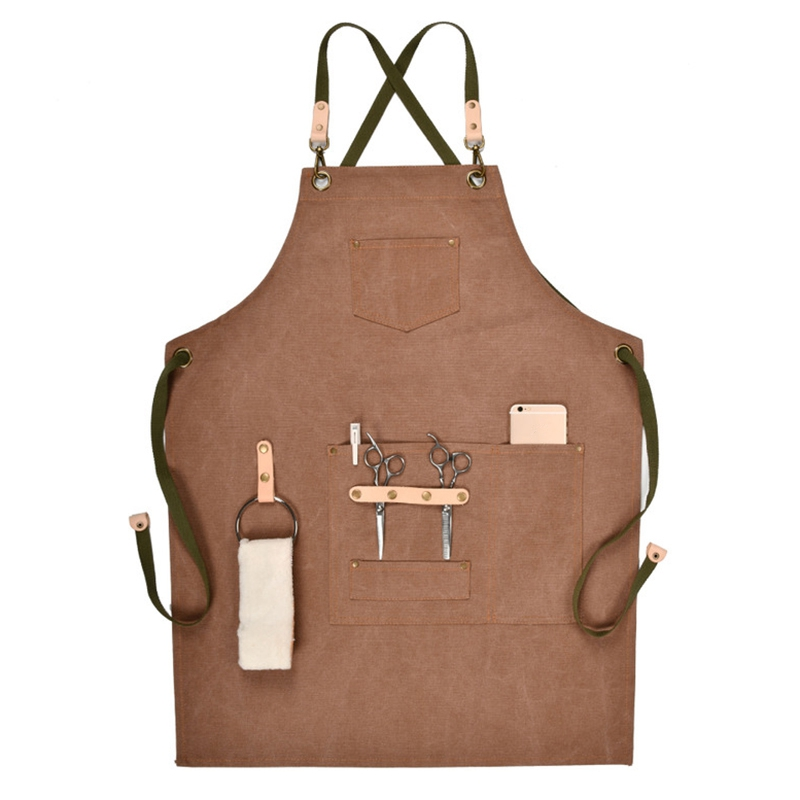 Hairdressing Apron Bib Chef Barber Apron For Women Men Barista Bartender Pockets Home Barber Cook Coffee Restaurant