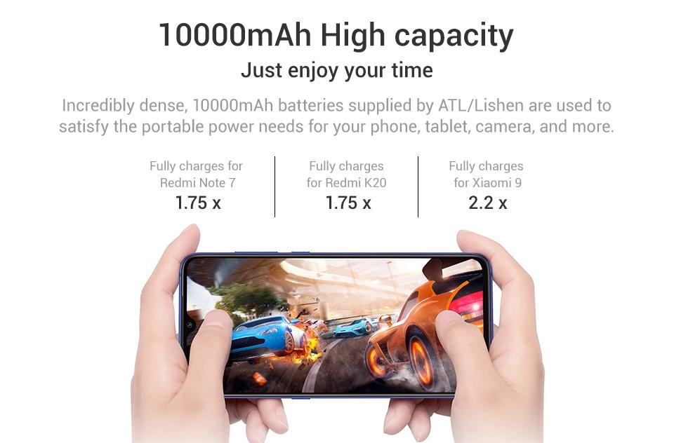 Xiaomi Redmi 10000 мАч Внешний аккумулятор внешний аккумулятор Двойной USB вход выход Двусторонняя зарядка портативный для телефона
