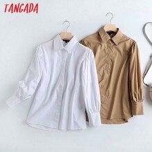 Tangada女性白カーキ色の綿シャツパフ長袖固体エレガントなオフィスレディース作業服ブラウス高品質4C37