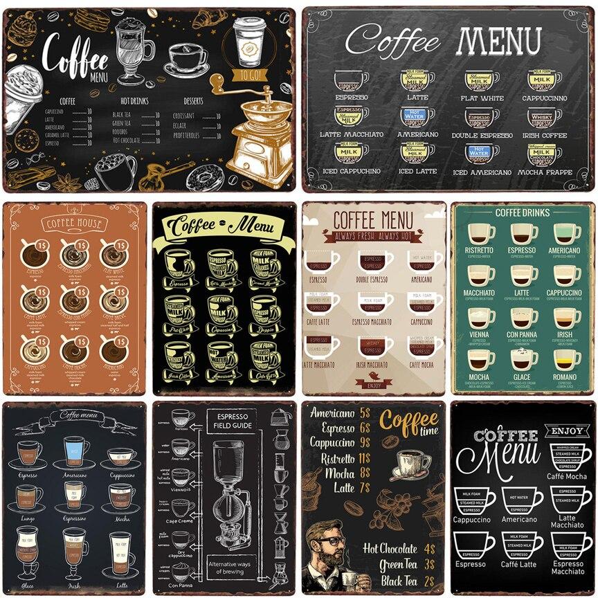 Café menú café lata vintage cartel metal placa pintura retro hierro imagen Colgante de ventana de bola de vidrio de arcoíris de Chakra de Metal en 3D, colgante de cristal hecho a mano con prismas de mariposa y corazón