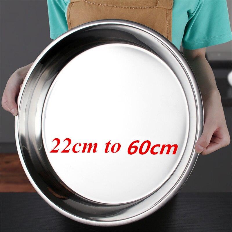Большой плоский круглый поднос для посуды из нержавеющей стали, тарелки для зарядного устройства, серебряный сервировочный поднос, металли...