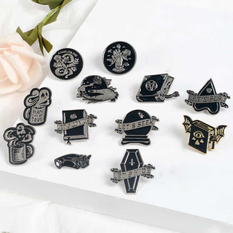 Penyihir Buku Hantu Gothic Punk Pin Mari Kita Do STH Jahat Sihir Gelap Bros Lencana Tas Enamel Pin Festival Hadiah Perhiasan untuk Teman
