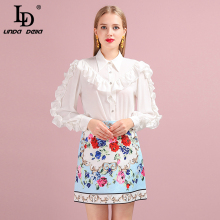 LD LINDA DELLA 2019 Autumn Women Set Runway Fashion Designer Long Sleeve Gorgeous Ruffles Blouses+Printed Mini Skirt Lady Suits