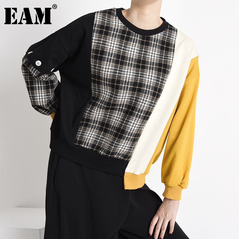[EAM] Loose Fit Black Plaid Irregular Sweatshirt New Round Neck Long Sleeve Women Big Size Fashion Spring Autumn 2020 1Y23301 1