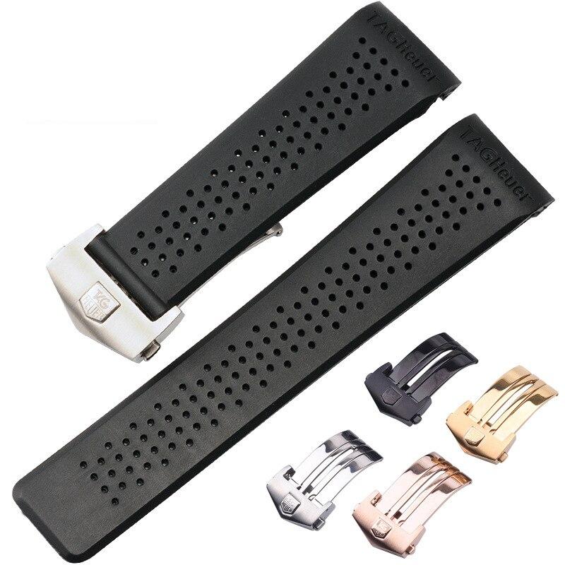 Pulseira de relógio para tag heuer pulseira de silicone 22 24mm à prova dwaterproof água borracha pulseira de relógio substituir relógio de pulso cinto acessórios