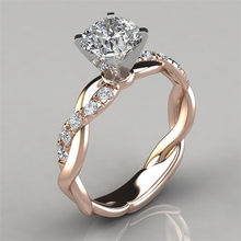 LETAPI Silver Color Jewelry Gold Color Four Claws CZ Stone Twist Engagement Wedding Rings for Women Bijoux Femme