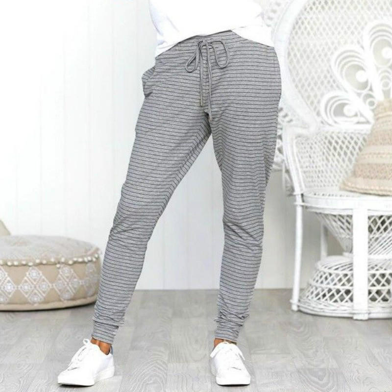 Fashion High Waist Pencil Pants Casual Trousers 2020 Spring Striped Pants For Women