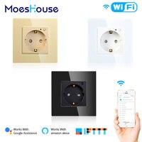 Enchufe de pared inteligente wifi de control remoto para el hogar, Toma de corriente de pared de 16A, estándar europeo, para Smart Life, Tuya, Alexa y Google Home