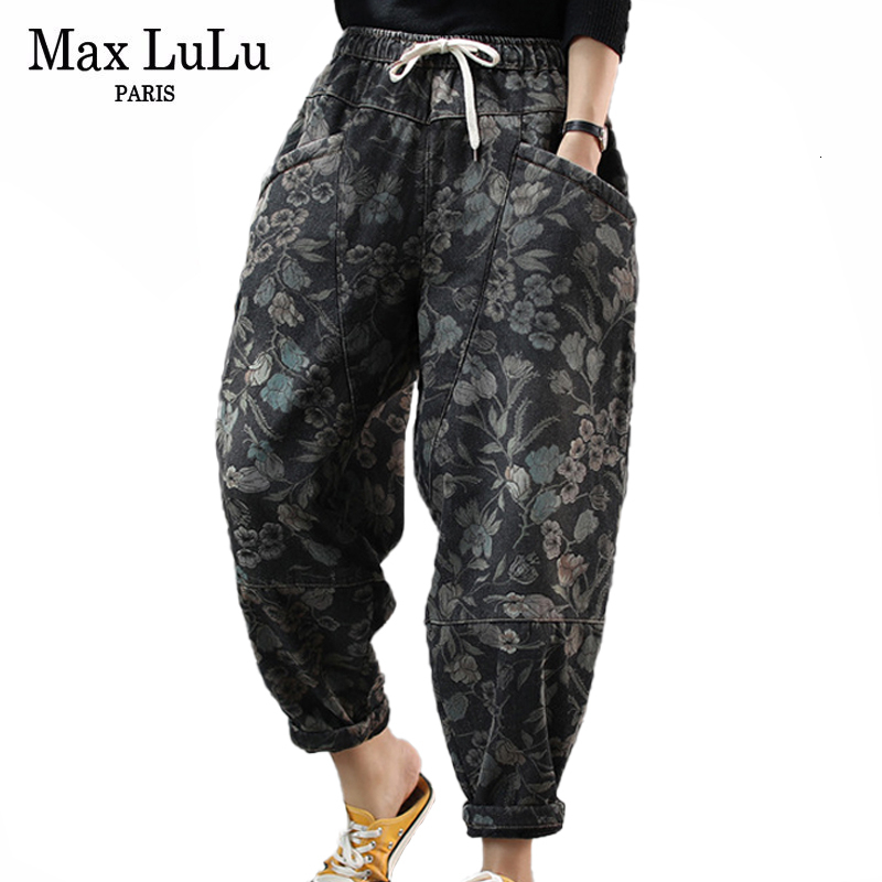 Max LuLu 2019 New Korean Fashion Ladies Floral Fur Jeans Womens Loose Printed Denim Trousers Winter Warm Harem Pants Plus Size