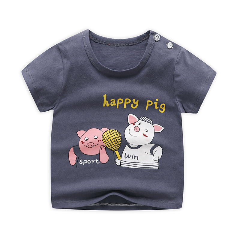 Cartoon Pig Design Children's Funny T-Shirts Boys/Girls Cute Tops Tees Kids Summer Casual Clothes For Baby Girls Shirt