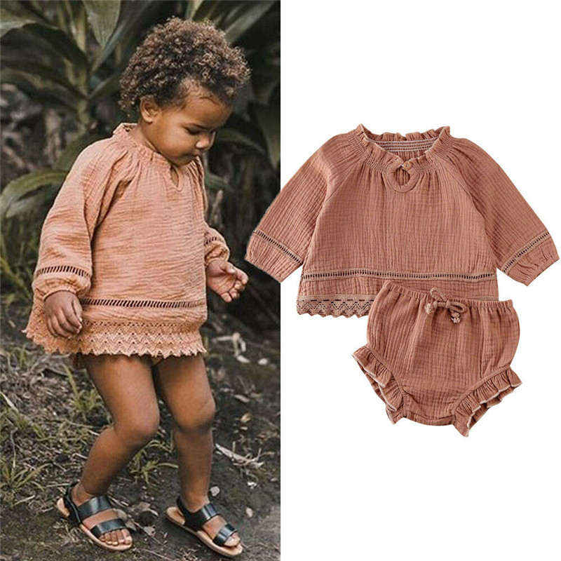 Autumn Infant Baby Girls Long Sleeve Cotton Linen Blouse Tops T-shirt Ruffle Shorts Pants Baby Casual Tracksuit Clothing Outfits