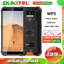 OUKITEL WP5 5.5 8000mAh IP68 Waterproof Smartphone 4GB 32GB Quad Core Triple Cameras Android 9.0 Mobile Phone 5V/2A